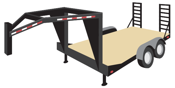 Semi-trailer commonly used to haul heavy equipment or machinery, with a deck drop just after the gooseneck and one before the wheels.