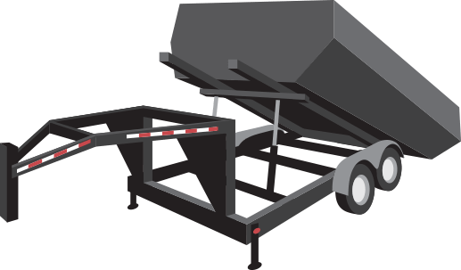 These Roll-Off trailers have an open-top dumpster that uses wheels to facilitate the dumpster's movement on and off the trailer. Usually used for dumping of heavy materials like construction debris, yard materials, and more.