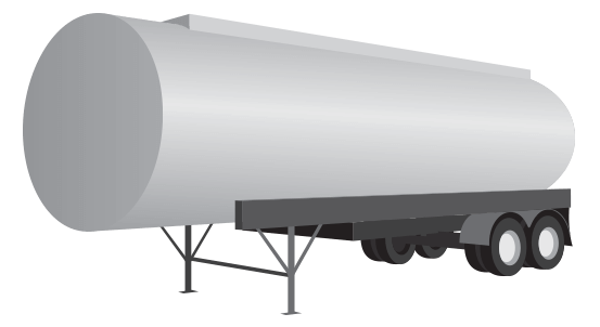 These closed cylindrical trailers are used to haul bulk liquid products such as fuels, potable and non-potable water and are usually constructed from aluminum or stainless steel.