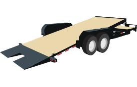 The deck of this trailer tilts, which makes loading and unloading equipment, automobiles, etc., easy work.